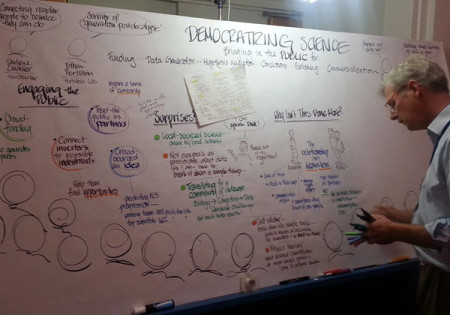 Partnering for Cures meeting - democratizing science whiteboard