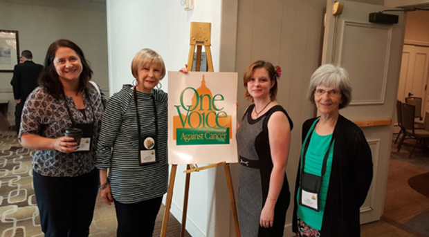 Patient and caregivers making their voices heard and lobbying on behalf of the crucial funding GIST and other rare cancers need. From left to right: Kristen and Jeannie Dennis, Erin MacBean, and Teena Petersohn.