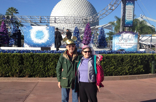 John and his wife Melinda with their special Disney hats at Epcot in Orlando, Florida.