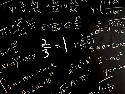 Equations on blackboard