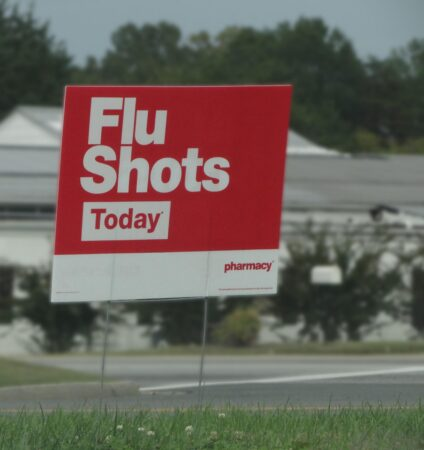 Flu shot today sign