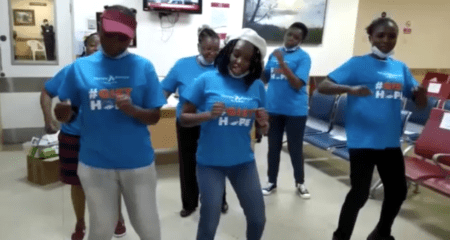 Florence Thwagi dancing with Henzo Kenya GISTers